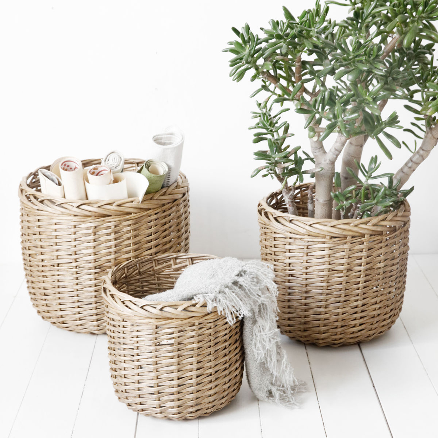 Baskets kurve large 3-dele, natur