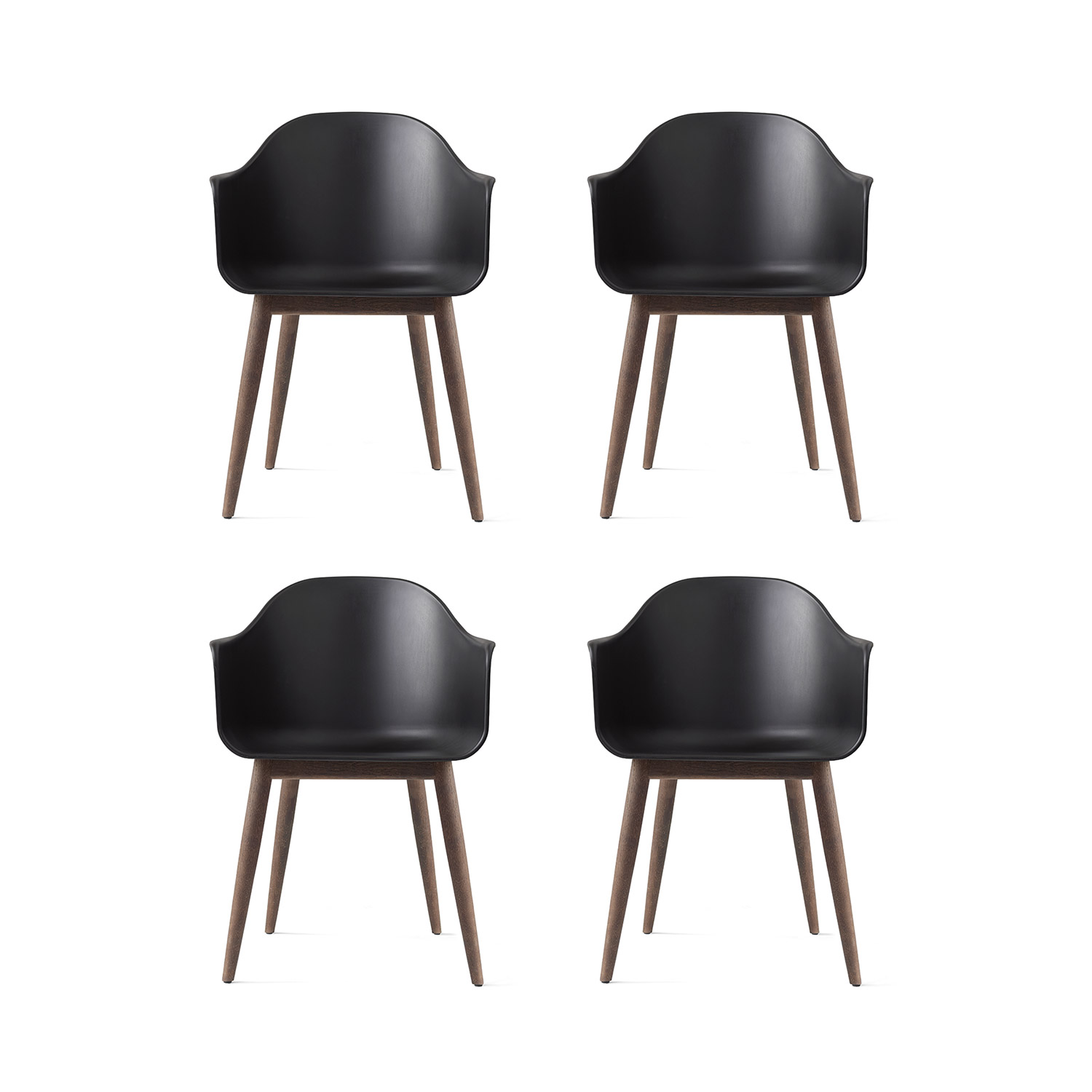 Harbour Chair 4-pack, sort/mørk eg