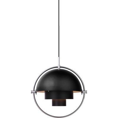 Multi-Lite pendel fra Gubi, designet af Louis Weisdorf. Med sin karakteristiske form skaber denne tidløse pendel et herligt lys i det rum, hvor du vælger at placere den. Lampen passer over sofabordet i stuen eller over spisebordet eller for sig selv. Multi-Line hr en delt yderskærm i cylinderform som kan roteres. Ringen i krom bliver en flot detalje og rammer lampen ind. Når man roterer lampen så kan lyset rettes i forskellige retninger - nedad, opad eller assymetrisk. En sort ledning i tekstil medfølger samt en balakin i krom medfølger.