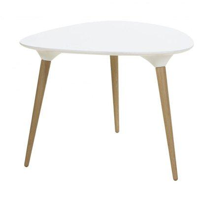 Icicle trekant bord hvid plade med egetræ ben