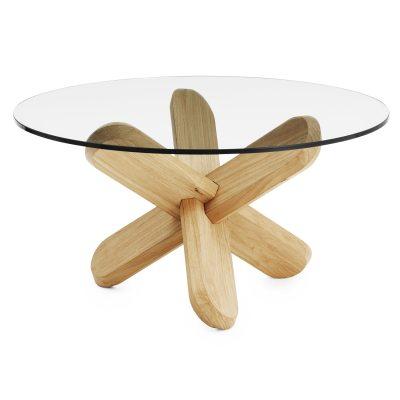 Ding sofabord glas/egetræ
