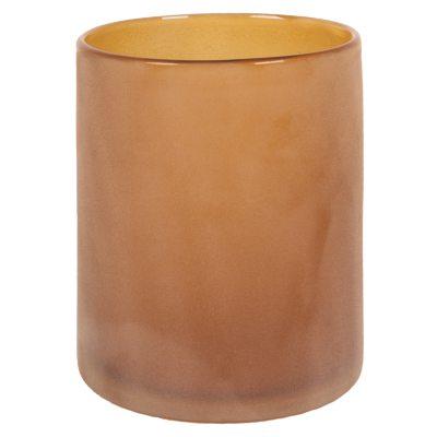 Glass fyrfadsstage L brun