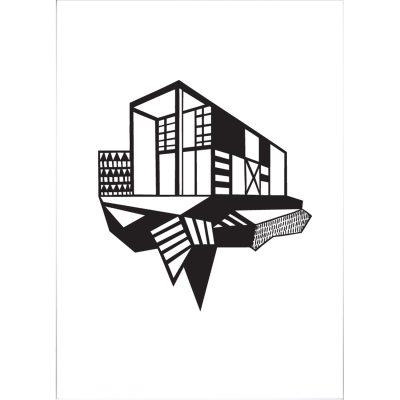 Simpel House plakat A3 sort/hvid