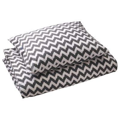 Ikat Zigzag sengetøj enkel, grå thumbnail