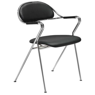 Bruno Mathsson BM65 stol, sort læder