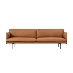 Outline 3-pers sofa, silk leather/cognac