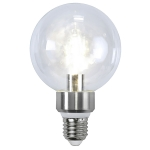 LED-lampe E27 G95 crystal, silver