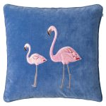 Embroidered Flamingo Velvet pudebetræk M, riviera blue