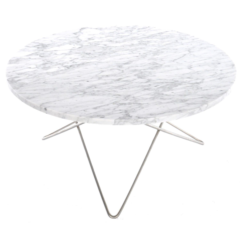 O Sofabord Hvid Marmor Stål