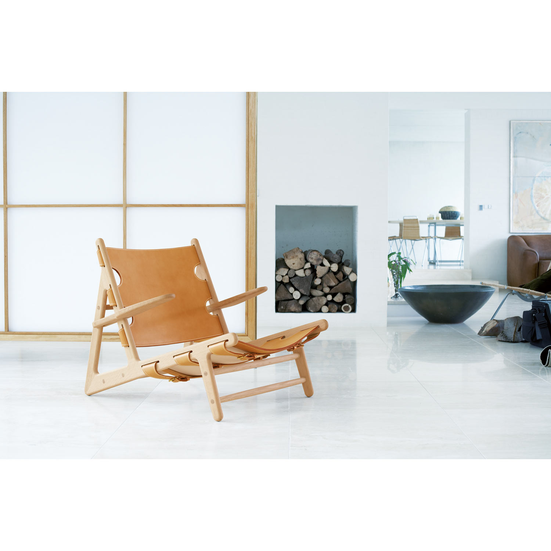 """Stol 2229 """"jagtstolen"""", ubehandlet eg, læder natur frÃ¥n fredericia ..."""